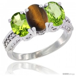 14K White Gold Natural Tiger Eye & Peridot Sides Ring 3-Stone Oval 7x5 mm Diamond Accent