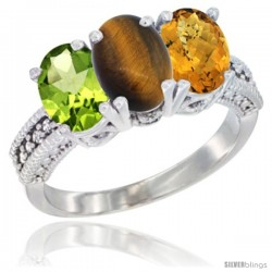 14K White Gold Natural Peridot, Tiger Eye & Whisky Quartz Ring 3-Stone Oval 7x5 mm Diamond Accent