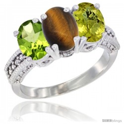 14K White Gold Natural Peridot, Tiger Eye & Lemon Quartz Ring 3-Stone Oval 7x5 mm Diamond Accent