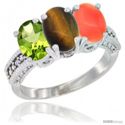14K White Gold Natural Peridot, Tiger Eye & Coral Ring 3-Stone Oval 7x5 mm Diamond Accent