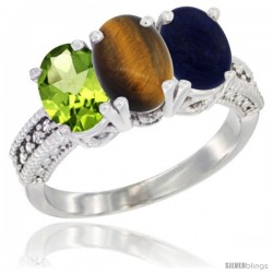 14K White Gold Natural Peridot, Tiger Eye & Lapis Ring 3-Stone Oval 7x5 mm Diamond Accent