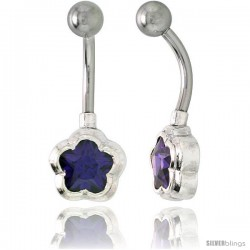 Flower Belly Button Ring with Amethyst Cubic Zirconia on Sterling Silver Setting -Style Ssc47