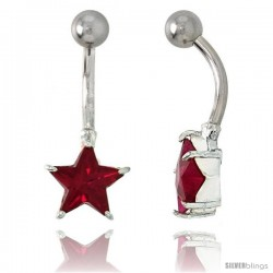 Star Belly Button Ring with Red Cubic Zirconia on Sterling Silver Setting