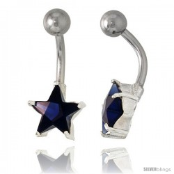 Star Belly Button Ring with Blue Sapphire Cubic Zirconia on Sterling Silver Setting