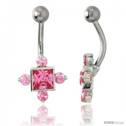 Fancy Star Belly Button Ring with Pink Cubic Zirconia on Sterling Silver Setting