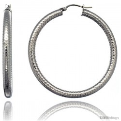 Surgical Steel 2-inch Hoop Earrings Tight Zigzag Embossed Pattern 4 mm tube, feather weigh