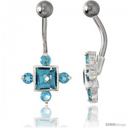 Fancy Star Belly Button Ring with Blue Topaz Cubic Zirconia on Sterling Silver Setting
