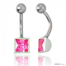 Belly Button Ring with Pink Princess Cut Cubic Zirconia on Sterling Silver Setting