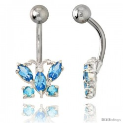 Butterfly Belly Button Ring with Blue Topaz Cubic Zirconia on Sterling Silver Setting