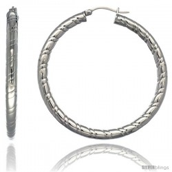 Surgical Steel 2-inch Hoop Earrings Candy Stripe Embossed Pattern 4 mm tube, feather weigh