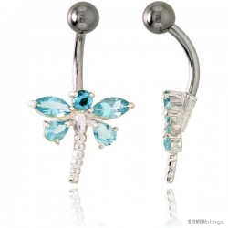 Dragonfly Belly Button Ring with Blue Topaz Cubic Zirconia on Sterling Silver Setting