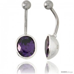 Large Oval Belly Button Ring with Amethyst Cubic Zirconia on Sterling Silver Setting