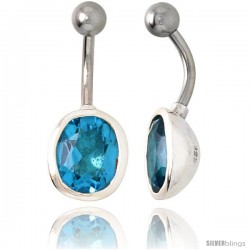Large Oval Belly Button Ring with Blue Topaz Cubic Zirconia on Sterling Silver Setting
