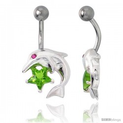 Dolphins Belly Button Ring with Emerald Cubic Zirconia on Sterling Silver Setting