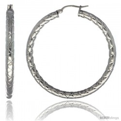 Surgical Steel 2-inch Hoop Earrings Zigzag Embossed Pattern 4 mm tube, feather weigh