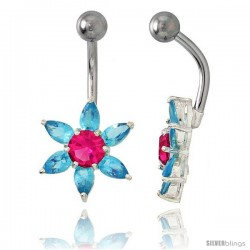 Sunflower Belly Button Ring with Blue Topaz Cubic Zirconia on Sterling Silver Setting -Style Ssc84