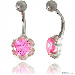 Flower Belly Button Ring with Pink Cubic Zirconia on Sterling Silver Setting -Style Ssc86