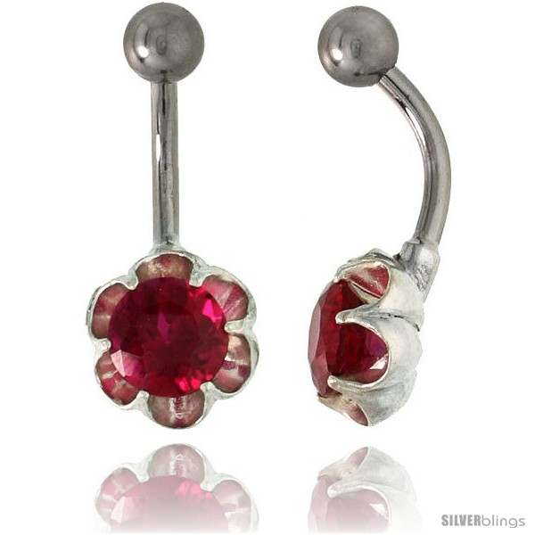 Flower Belly Button Ring With Ruby Red Cubic Zirconia On Sterling Silver Setting