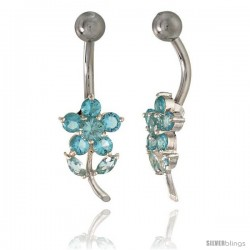 Flower Belly Button Ring with Blue Topaz Cubic Zirconia on Sterling Silver Setting -Style Ssc92