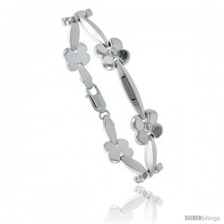 Sterling Silver Stampato Chain Flower Link Necklace or Bracelet), 7/16 in. (11 mm) wide
