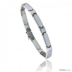 Sterling Silver Stampato Bar Link Necklace or Bracelet), 1/4 in. (6 mm) wide