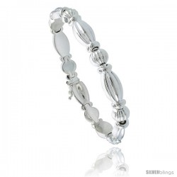 Sterling Silver Stampato Chain Oval Link Necklace or Bracelet), 5/16 in. (8 mm) wide -Style St6