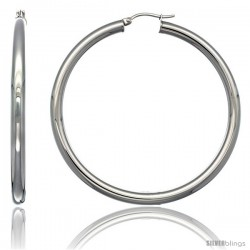 Surgical Steel 2 1/4 in Hoop Earrings Mirror Finish 4 mm tube, feather weigh