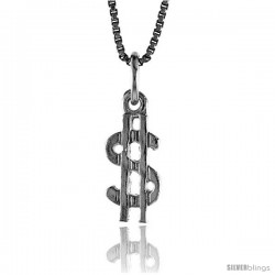 Sterling Silver Tiny Dollar Sign Pendant, 1/2 in Tall