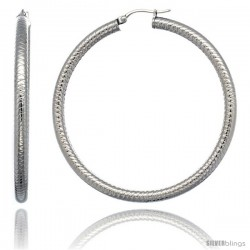 Surgical Steel 2 1/4 in Hoop Earrings Tight Zigzag Embossed Pattern 4 mm tube, feather weigh