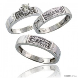 10k White Gold Diamond Trio Wedding Ring Set His 5mm & Hers 4.5mm