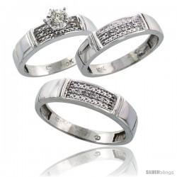 10k White Gold Diamond Trio Wedding Ring Set His 5mm & Hers 4.5mm