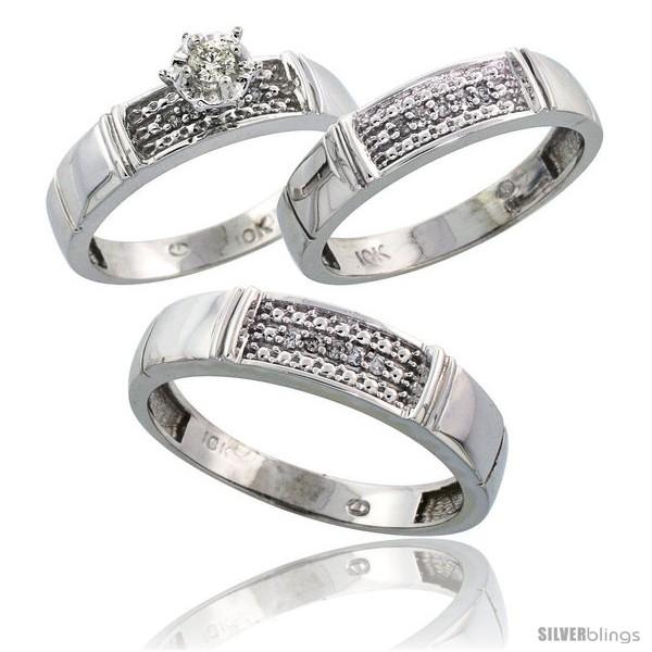 Trio Wedding Ring Sets | 10k White Gold Diamond Trio Wedding Ring Set His 5mm Hers 4 5mm