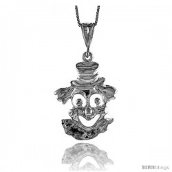Sterling Silver Large Happy Clown Pendant, 1 1/4 in Tall