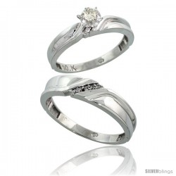 10k White Gold 2-Piece Diamond wedding Engagement Ring Set for Him & Her, 3.5mm & 5mm wide