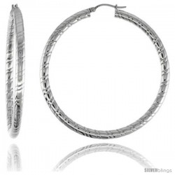 Surgical Steel Tube Hoop Earrings 2 1/4 in round 4 mm wide Candy Stripe Pattern, feather weight