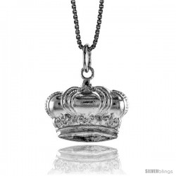 Sterling Silver Crown Pendant, 1/2 in Tall