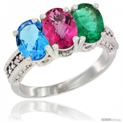 14K White Gold Natural Swiss Blue Topaz, Pink Topaz & Emerald Ring 3-Stone 7x5 mm Oval Diamond Accent