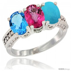 14K White Gold Natural Swiss Blue Topaz, Pink Topaz & Turquoise Ring 3-Stone 7x5 mm Oval Diamond Accent