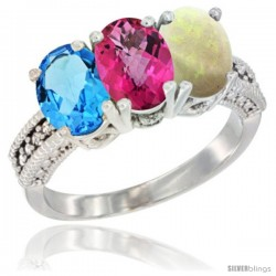 14K White Gold Natural Swiss Blue Topaz, Pink Topaz & Opal Ring 3-Stone 7x5 mm Oval Diamond Accent