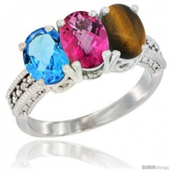 14K White Gold Natural Swiss Blue Topaz, Pink Topaz & Tiger Eye Ring 3-Stone 7x5 mm Oval Diamond Accent