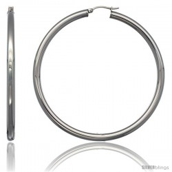 Surgical Steel 2 3/4 in Hoop Earrings Mirror Finish 4 mm tube, feather weigh