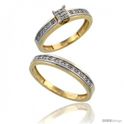 10k Gold 2-Piece Diamond Ring Set ( Engagement Ring & Man's Wedding Band ), w/ 0.21 Carat Brilliant Cut Diamonds, ( 4mm 4mm )