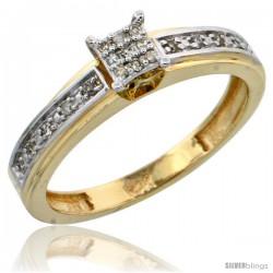 10k Gold Diamond Engagement Ring, w/ 0.13 Carat Brilliant Cut Diamonds, 5/32 in. (4mm) wide