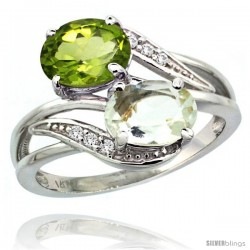 14k White Gold ( 8x6 mm ) Double Stone Engagement Green Amethyst & Peridot Ring w/ 0.07 Carat Brilliant Cut Diamonds & 2.34