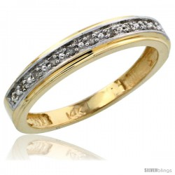 10k Gold Ladies' Diamond Band, w/ 0.08 Carat Brilliant Cut Diamonds, 5/32 in. (4mm) wide