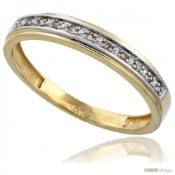 10k Gold Men's Diamond Band, w/ 0.08 Carat Brilliant Cut Diamonds, 5/32 in. (4mm) wide