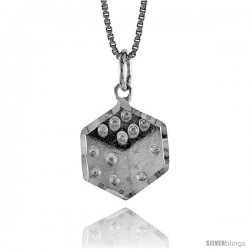 Sterling Silver Dice Pendant, 1/2 in Tall