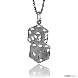 Sterling Silver Double Dice Pendant, 7/8 in Tall