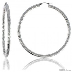 Surgical Steel Tube Hoop Earrings 2 3/4 in round 4 mm wide Candy Stripe Pattern, feather weight