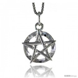 Sterling Silver 5-Point Star Pendant, 1/2 in Tall